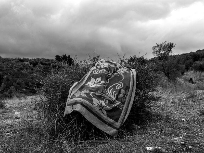 A quilt outside the central camp of Moria. Lesvos, Greece, The Island, 2020