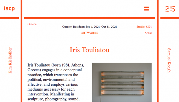 Iris Touliatou at New York for a two-month residency at ispc